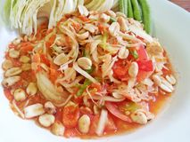 Thai food Papaya salad. Thai famous food Papaya spicy salad stock image