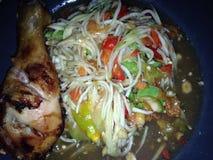 Thai food. Papaya salad and grill chicken Royalty Free Stock Image