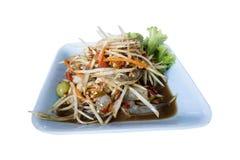 Thai food papaya salad. Isolated on white royalty free stock image