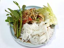 Thai food, papaya salad. Noodles papaya salad morning glory Thai food Delicious Stock Photos