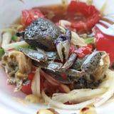 Thai food. Papaya salad with salty crab Stock Photos