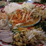 Thai food. Papaya salad set called somtam tard royalty free stock photo