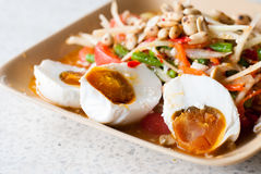 Thai food Papaya salad. Thailand with salted egg Royalty Free Stock Photo