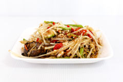 Thai food papaya salad on white dish Royalty Free Stock Images