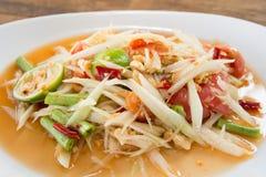 Thai food papaya salad on wooden table. Thai food papaya salad  wooden table Stock Photo