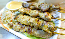 Thai food pork, chicken and meat with satay sauce Stock Photography