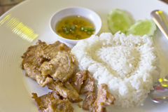 Thai food, pork fried Royalty Free Stock Photography