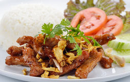 Thai food, pork fried with crunchy garlic Stock Photo
