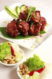 Thai food, pork meal. Thai style, spicy pork on the dish. Appetizers are out of focus Royalty Free Stock Images