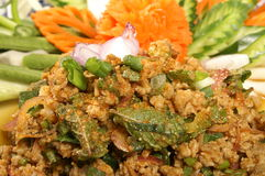 Thai food pork salad. Closeup of tasty, fresh and spicy, Thai pork salad Royalty Free Stock Images