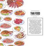 Thai food poster with asian cuisine dishes. Thai food poster with tom yam soup, steamed rice, satay skewers, green curry, fish and crabs, noodles with shrimp and Stock Photos