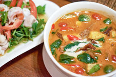 Thai food red curry roasted duck. Thai Recipe: Red Curry DuckIngredient * 1 roast duck sliced and cut into slices* Pineapple 5 pieces cut into small pieces Royalty Free Stock Photo
