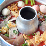 Thai Food : Red soup with pork in fire Stock Photos