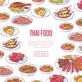 Thai food restaurant advertising with asian dishes. Thai food restaurant advertising with assorted asian dishes. Tom yam soup, steamed rice, satay skewers, green Stock Photography