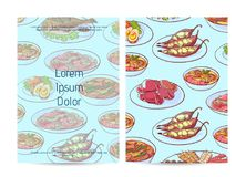 Thai food restaurant menu cover with asian dishes. Thai food restaurant menu cover with assorted asian dishes. Tom yam soup, steamed rice, satay skewers, green Stock Images