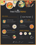 Thai food restaurant menu template flat design Royalty Free Stock Image