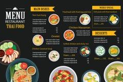 Thai food restaurant menu template flat design Royalty Free Stock Photos