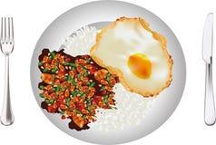 THAI FOOD RICE CHICKEN BASIL stock illustration