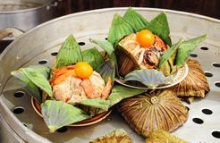 Thai food, rice in lotus leaves Stock Photography