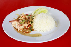 Thai food. rice and shrimp with sweet and spicy sauce Royalty Free Stock Images