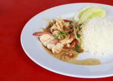 Thai food. rice and shrimp with sweet and spicy sauce Royalty Free Stock Image