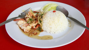 Thai food. rice and shrimp with sweet and spicy sauce Stock Image