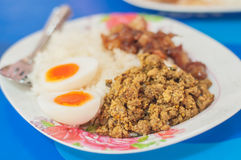 Thai food rice with stir fried yellow curry pork. Rice, stir fried hot and spicy pork with yellow curry paste and boiled egg, Delicious Thai food Royalty Free Stock Images