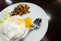 Thai Food Rice Topped with Stir-Fried Pork and Basil with Fried Egg in White Dish Stock Photo
