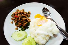 Thai Food Rice Topped with Stir-Fried Pork and Basil with Fried Egg in White Dish Stock Photos