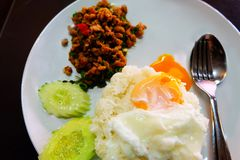 Thai Food Rice Topped with Stir-Fried Pork and Basil with Fried Egg in White Dish Stock Image