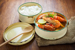 Thai food, River prawn spicy soup or tom yum goong Royalty Free Stock Images
