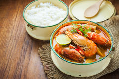 Thai food, River prawn spicy soup or tom yum goong Stock Image
