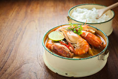 Thai food, River prawn spicy soup or tom yum goong Royalty Free Stock Photo