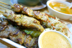 Thai food roast meat in Asian resturant Royalty Free Stock Photo