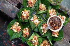 Thai food,Savoury leaf wraps,Miang Kham Royalty Free Stock Photography