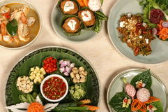 Thai food set. Thai food and apertizer with full herb Royalty Free Stock Photos