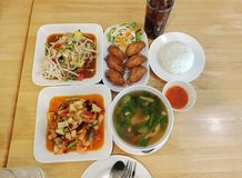 Thai food set in a restaurant stock photography