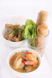 Thai food set with rice and spring roll. Royalty Free Stock Image