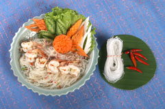Thai food with shrimp. Thai food meal with noodles, carrots and shrimp Royalty Free Stock Photo