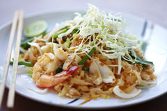 Thai food from shrimp. A seafood padthai in sunlight Stock Image
