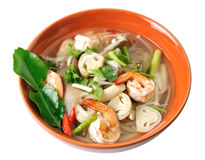 Thai Food Shrimp soup with mushrooms Stock Photo