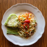 Thai food Som tum. Som tum, Thai food or papaya salad in spicy taste and is popular in Thailand Royalty Free Stock Photo