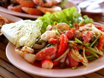 Thai food / somtum  05. A  photo  of  delicious   thai food / somtum Royalty Free Stock Photo
