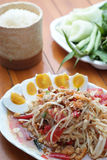 Thai Food (Somtum). Somtum is Thai Food most popular for foriegner and Thai people Stock Photos