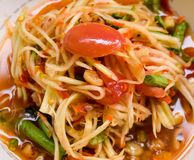 Thai food, Somtum  or papaya salad. Papaya salad or  Somtum,Thai style spicy food, it& x27;s tasty Stock Photography