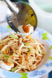 Thai Food. (somtum) spicy papaya salad with salted egg Royalty Free Stock Photography