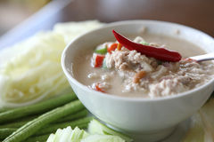 Thai food soya bean dipping sauce in pork Stock Photo