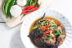 Thai Food Spicy Cat Fish with vegetables (Pla Duk Pad Ped) Stock Image