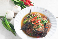 Thai Food Spicy Cat Fish with vegetables (Pla Duk Pad Ped) Royalty Free Stock Images