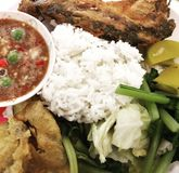 Thai food. Spicy chilie paste with veggies Royalty Free Stock Photography